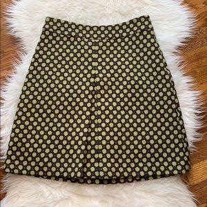 Boden Brown & Green Wool A-Line Skirt